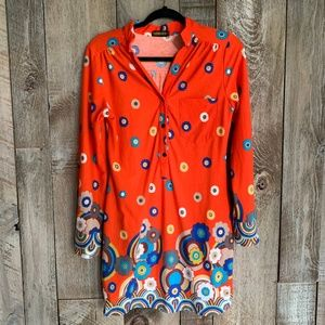 Vintage 70s Circle Print Orange Long Sleeved Dress